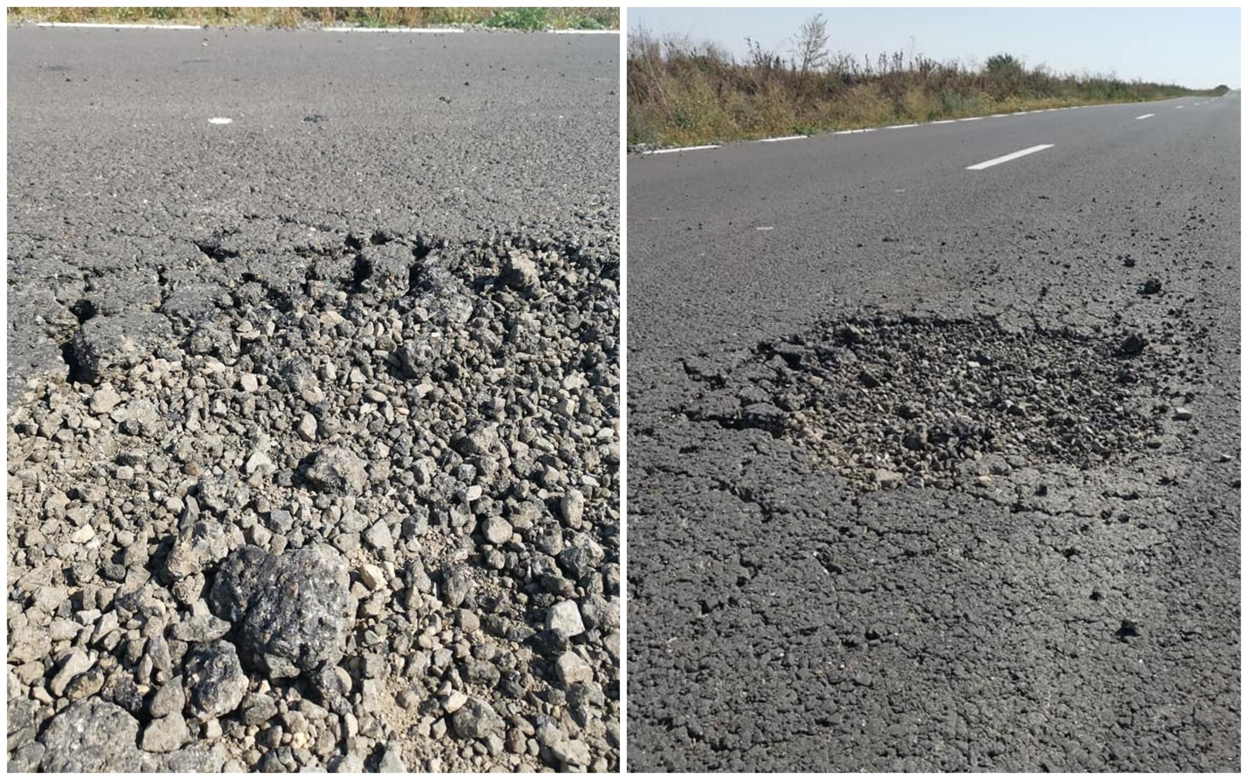 Drum nou, plin de gropi, din Sânpetru spre Timiş